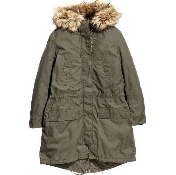97392db426c NWT! H&M Green Cotton Lined Parka w/Fur Hood NWT